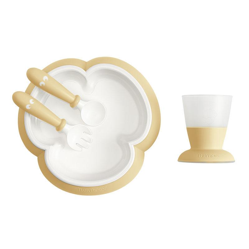 BabyBjorn Набор для кормления (тарелка,кружка,ложка,вилка), нежно-желтый