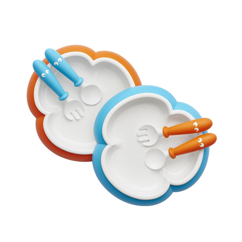 Babybjorn Детская тарелка, ложка и вилка, oранжевый/бирюзовый