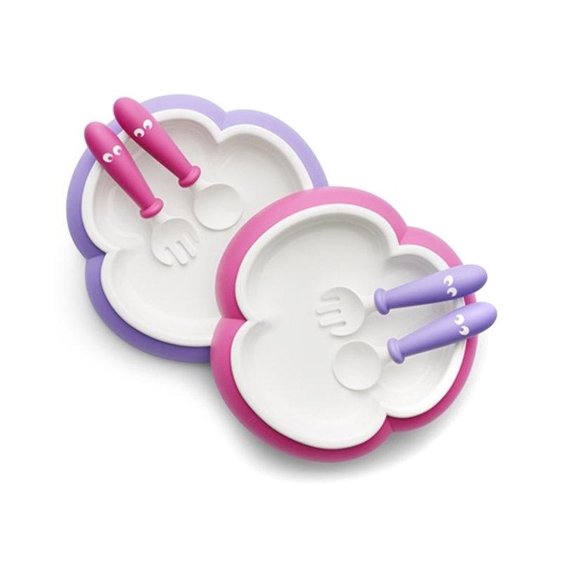 Babybjorn Детская тарелка, ложка и вилка, розовый/лиловый