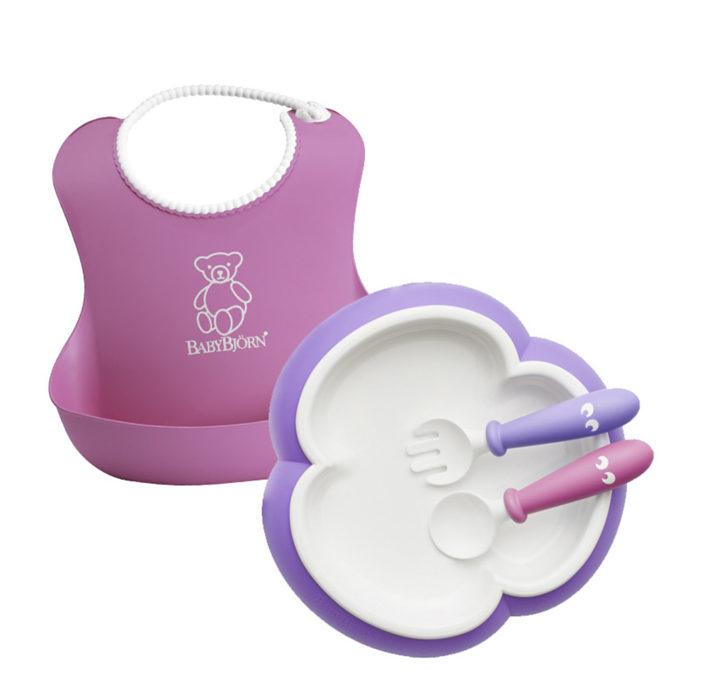 Babybjorn Набор для кормления (нагрудник,тарелка,ложка,вилка), Розовый:Лиловый