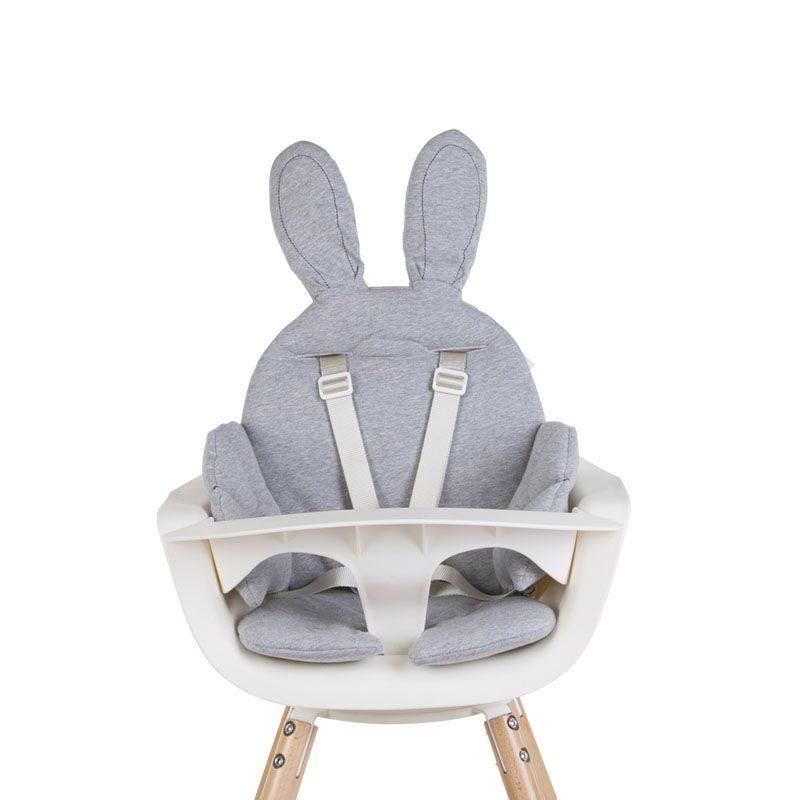 Childhome EVOLU ONE.80° Стульчик для кормления, Natural White 2 в 1 + мягкая подушка Jersey Grey