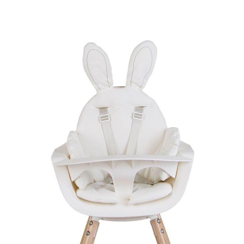 Childhome EVOLU ONE.80° Стульчик для кормления, Natural White 2 в 1 + мягкая подушка Jersey White