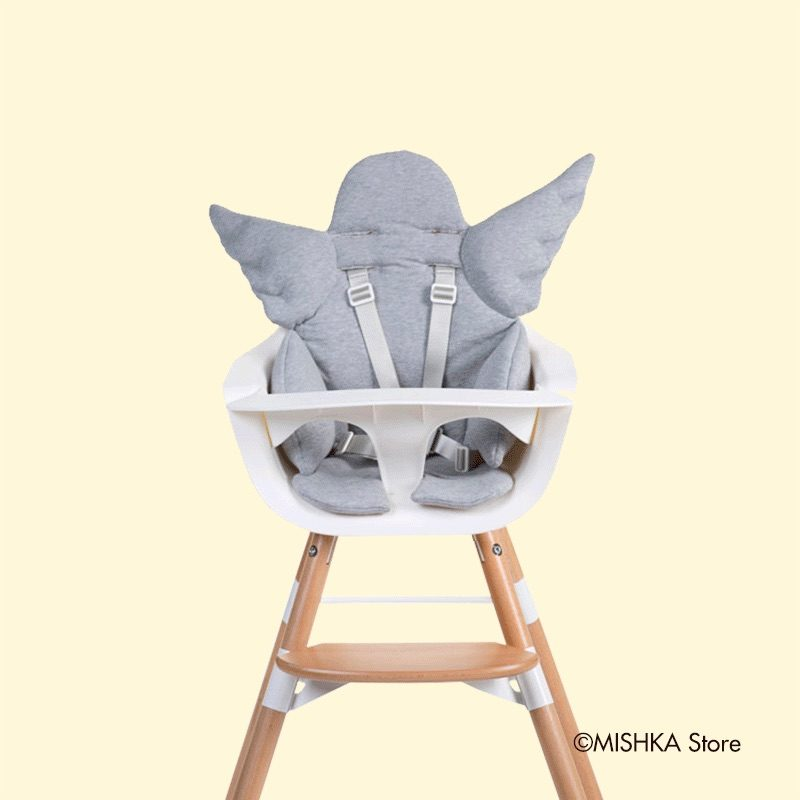 Childhome Стульчик для кормления EVOLU ONE.80°, Natural White 2 в 1 + мягкая подушка Angel Grey
