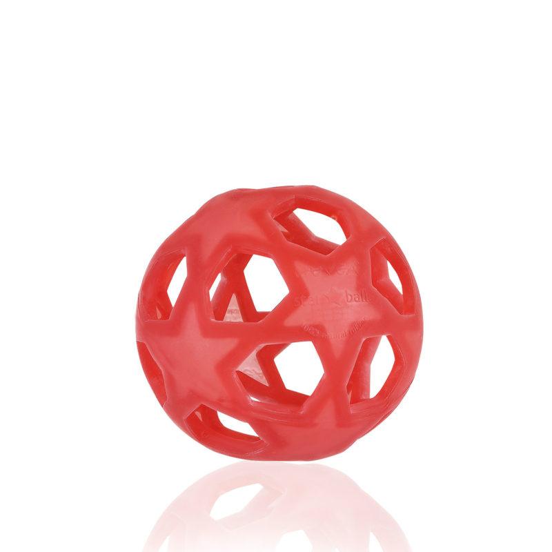 Hevea Прорезыватель для зубов из натурального каучука (латекса), Star Ball красный