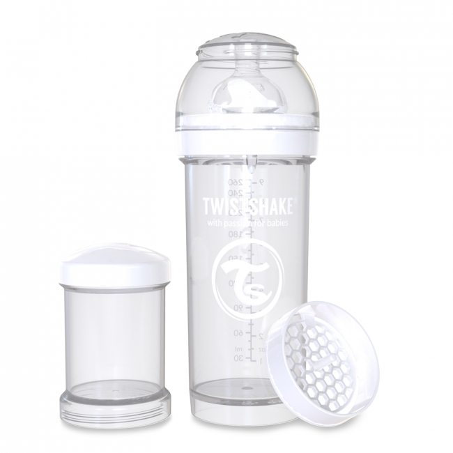 Twistshake Антиколиковая бутылочка 260 мл, White Daimond