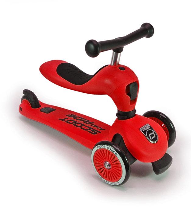 Scoot&Ride Детский трехколесный самокат с сиденьем, Красный