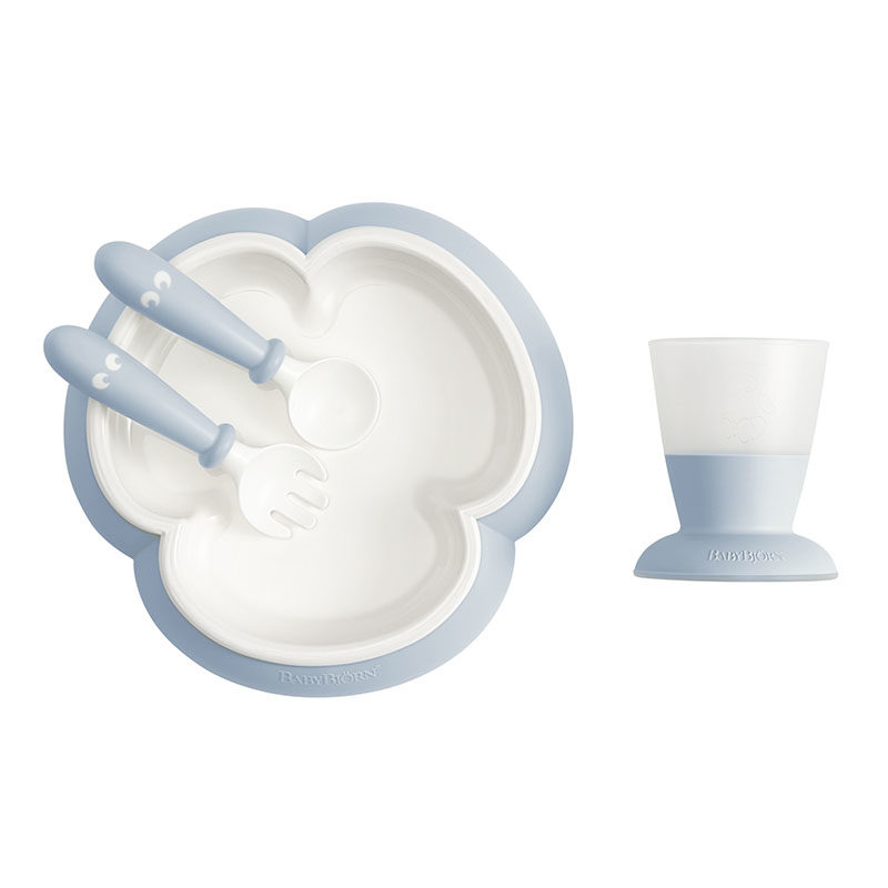 BabyBjorn Набор для кормления (тарелка,кружка,ложка,вилка), нежно-голубой