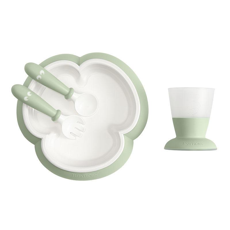 BabyBjorn Набор для кормления (тарелка,кружка,ложка,вилка), нежно-зеленый