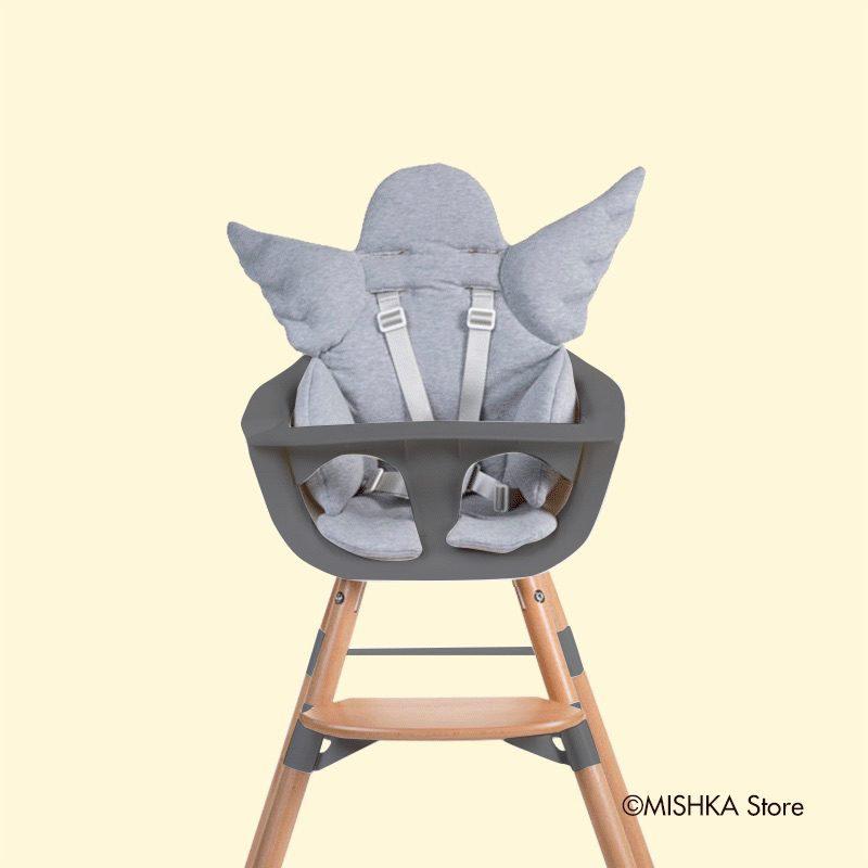 Childhome EVOLU ONE.80° Стульчик для кормления, Natural ANTHRACITE 2 в 1 + мягкая подушка Angel Grey