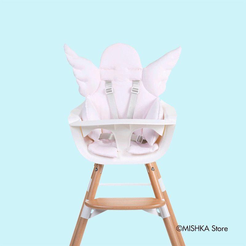 Childhome Стульчик для кормления EVOLU ONE.80°, Natural White 2 в 1 + мягкая подушка Angel Old Pink