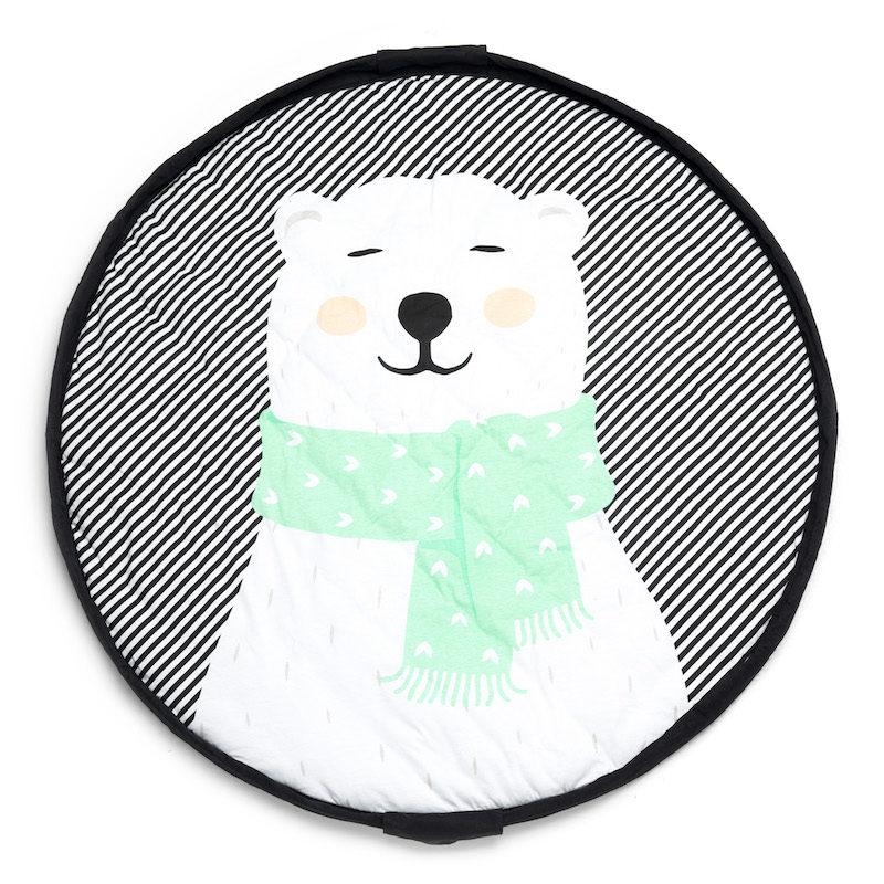 мягкий игровой коврик и мешок для игрушек Soft_белый мишка_2